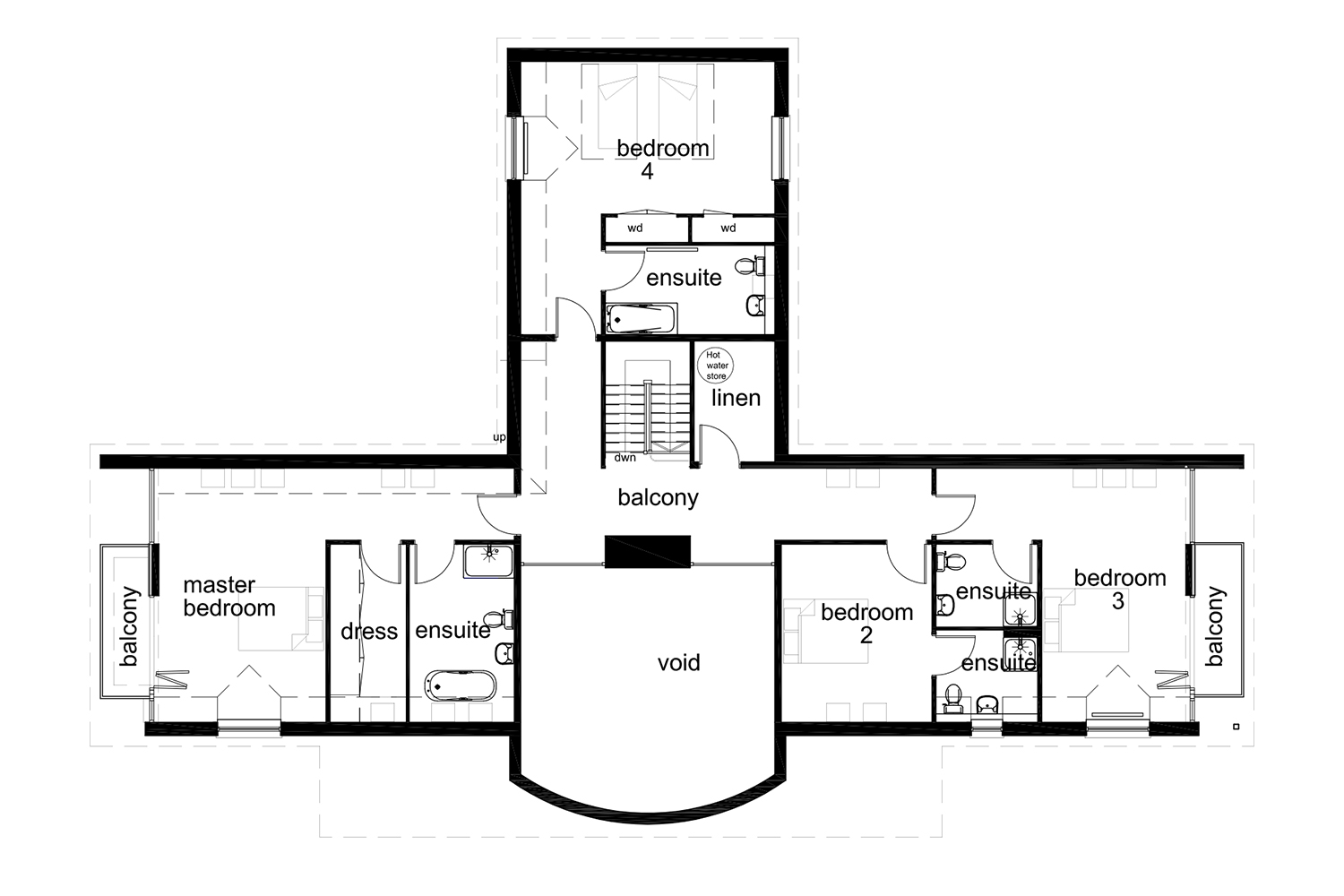 Coopers Knowe House, floor plan 1st floor Roshven, Glenuig